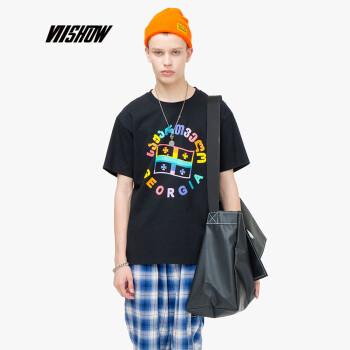 威秀 viishow 2019夏季新款短t男圆领个性印花棉男士短袖t恤TDA030192 黑色 S