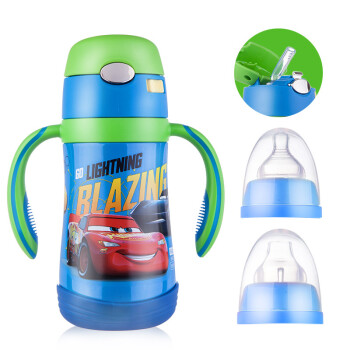 迪士尼(Disney)兒童吸管杯 嬰兒學飲杯寶寶雙柄保溫水杯重力球鴨嘴杯 奶嘴鴨嘴吸管三用 藍色汽車320ml