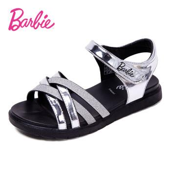 芭比 BARBIE 童鞋 女童凉鞋2019新款时尚中大童公主鞋夏季女生百搭鞋子 2715 银色 28码