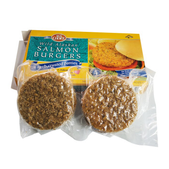 阿拉斯加三文鱼肉饼汉堡肉饼三文鱼排早餐食材363g/4片