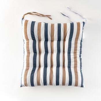 FOOJO坐垫 椅垫 加厚办公学生座椅垫 家居餐椅垫子 蓝米条纹