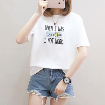 朗悦女装 2019夏季新款短袖T恤女学生韩版宽松上衣印花打底衫 LWTD191542 白色 M