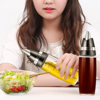 艾美诺(AMINNO)自动开口玻璃油壶防漏油瓶醋瓶酱油瓶调味瓶玫瑰状家用调料瓶油罐厨房用品 艾达玫瑰油壶2只装