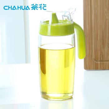 茶花 玻璃油壶厨房油瓶 家用储油罐食用小香油酱汁壶佐料 防漏嘴油壸酱油醋瓶子375ml A60002