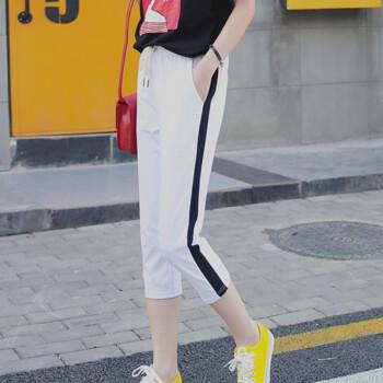 俞兆林 2019新款简约百搭七分运动休闲裤女 YWKX191633 白色 M