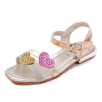 芭比 BARBIE 童鞋 女童凉鞋2019夏季新款透气百搭公主小高跟水钻中大童鞋子 2713 金色 26码