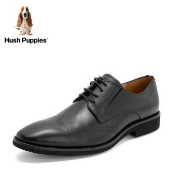 Hush Puppies/暇步士2019春新款专柜同款牛皮革正装男皮鞋T1A07AM9 黑色 39