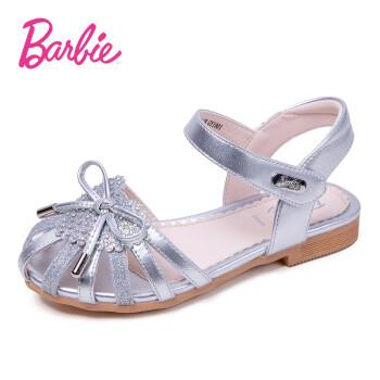 芭比 BARBIE 童鞋 女童凉鞋2019夏季新款透气时尚公主鞋儿童鞋子软底学生单鞋 2710 银色 27码