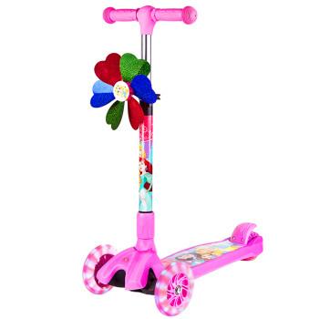 迪士尼(Disney)儿童滑板车 2-8岁可折叠四轮闪光小孩踏板车宝宝滑滑摇摆车 粉色公主