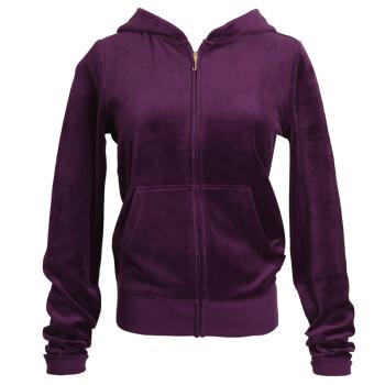 Juicy Couture 橘滋 紫色钉珠花团锦簇图案天鹅绒连帽卫衣外套女 WTKT34663 501 M