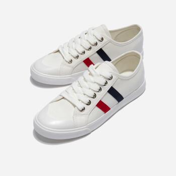 【勿上】热风新款女士潮流时尚休闲鞋系带拼色小白鞋 04白色 35正码