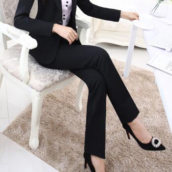 城加(CITYPLUS) 2019新款女西裤黑色长裤修身女装裤文员前台通勤直筒西裤 CWXK191315 黑色 L