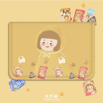 Bao da macbook màu vàng hoạ tiết cô gái