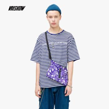 威秀 viishow2019夏季新品短袖T恤男 韩版男士圆领条纹T恤五分袖上衣TD1362192 蓝白条纹 S