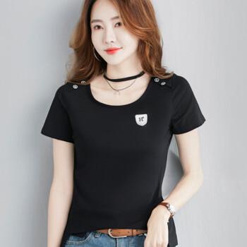俞兆林 2019夏装新款女装韩版宽松上衣学生休闲百搭短袖T恤 YWTD192184 黑色 M