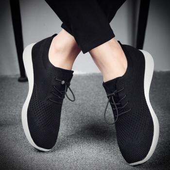 增高男鞋2019新款网鞋男士透气防臭运动鞋子网面鞋休闲内增高鞋男 9888BZ黑色【内增高款】 40