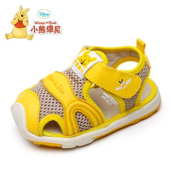 迪士尼 DISNEY 童鞋 小熊维尼童鞋 夏季宝宝凉鞋男1-2-3岁 女童包头软底学步鞋 9250 浅黄 145码