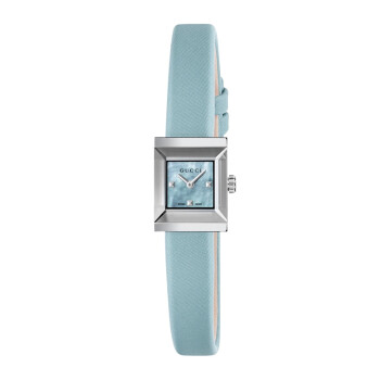古驰(GUCCI)G-Frame系列浅蓝色石英女士腕表YA128531