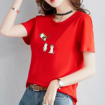 俞兆林 2019夏装新款女装韩版宽松印花上衣学生休闲百搭短袖T恤 YWTD192212 红色 M