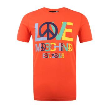 LOVE MOSCHINO 莫斯奇诺 男士橘色弹力棉反战图案短袖T恤 M473124 00K18 M码