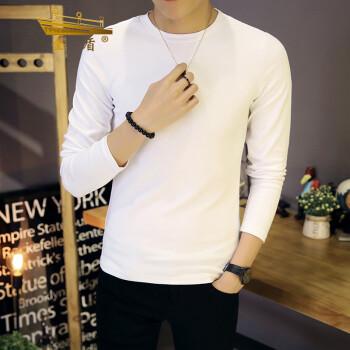 金盾(KIN DON) 长袖T恤 新款男士休闲纯色圆领打底衫T恤D303-T508白色M