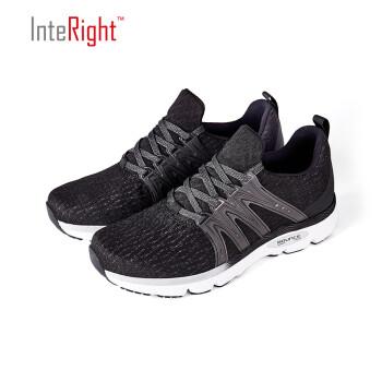 INTERIGHT京东自营夏季新款男子跑步运动鞋超轻回弹反光透气网面休闲男鞋 黑色 43