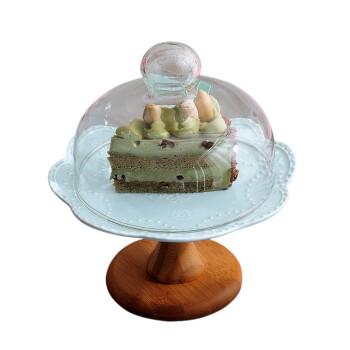 陶瓷水果盘客厅 创意点心盘带盖玻璃罩 欧式高脚盘托盘甜品架 8英寸白色高脚盘