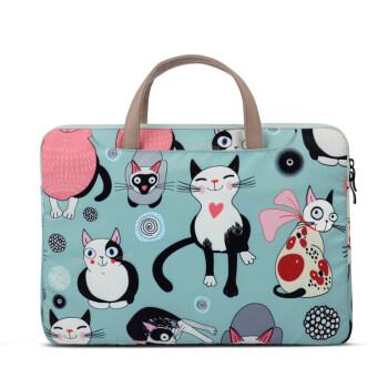 Túi chống sốc có quai vải nilon hoạ tiết mèo nền xanh nhạt