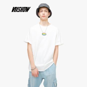 威秀 viishow 2019夏季新款短袖T恤男 炫彩球体印花短袖 白色 L