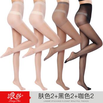 浪莎丝袜女6双夏连裤袜超薄防勾丝黑肉色女士长筒打底裤袜薄款 肤色2+黑色2+咖啡色2 均码