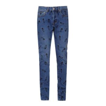 范思哲 范瑟丝 VERSACE VERSUS 奢侈品 男士蓝色棉氨纶别针刺绣图案牛仔裤 BU40479 BT10782 B8372 33码
