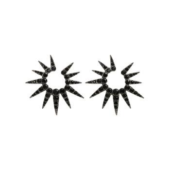 OSCAR DE LA RENTA 海胆刺小水晶耳环 黑钻色
