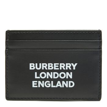 BURBERRY 巴宝莉 男士黑色牛皮徽标印花卡片夹 80092131