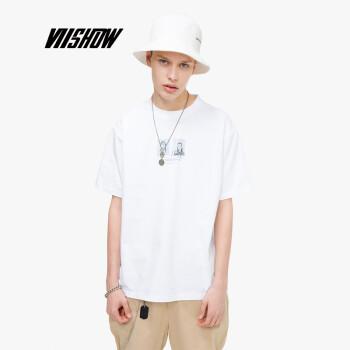 威秀 viishow2019夏季新款短袖T恤男 韩版男士圆领短上衣学生装清凉TD1572192 白色 L
