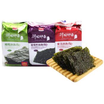 纯喜 即食紫菜烤海苔 韩国印象休闲零食混合装4.5g*9包(橄榄油*3、葡萄籽油*3、紫苏油*3)