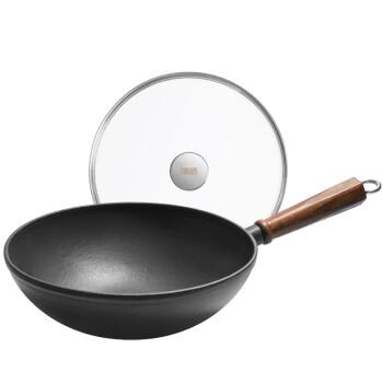 铸味蜂巢蓄能28CM铸铁锅具原铁单柄炒锅 家用炒菜锅 不易粘锅 电磁炉通用