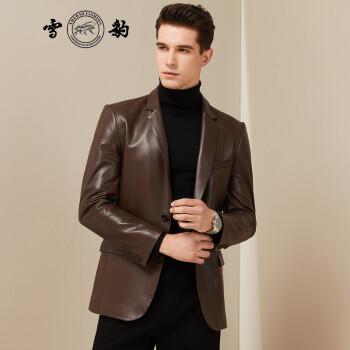 雪豹绵羊皮西装男2019秋季新款男士皮衣西装领薄外套短款商务男装01912 棕色 48