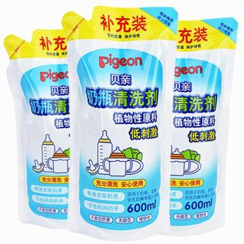 贝亲(Pigeon) 新生儿奶瓶清洗剂 婴儿果蔬清洁餐具清洁液 宝宝玩具清洗液洗洁精 3袋促销装1800ML