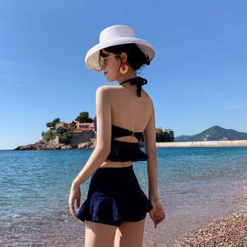 亦美珊泳衣女保守分体两件套小胸聚拢遮肚显瘦裙式平角学生温泉游泳衣女 YMS209112 藏蓝色 XL