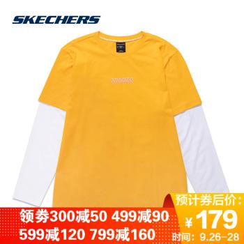 斯凯奇SkechersT恤衫男款长袖时尚套头衫SMAMS19D016【门店同款】 桔黄/YLOW XL