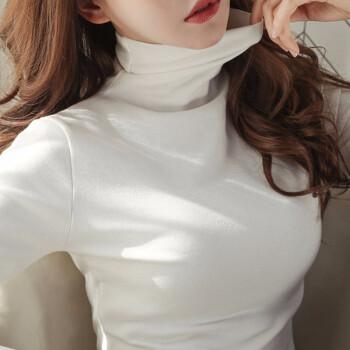 韩版纯色薄绒保暖修身显瘦堆堆领高领打底衫
