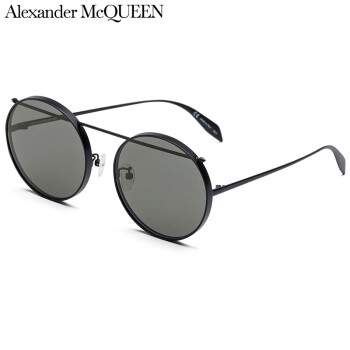 亚历山大·麦昆Alexander McQueen eyewear太阳镜男女款 国际版圆框墨镜 AM0137SA-002 黑色镜框灰色镜片 61mm