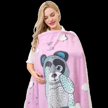 纽贝乐哺乳巾喂奶巾多功能夏季透气外出授乳遮羞巾防走光哺乳遮挡巾喂奶衣 大熊猫(粉)