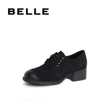BELLE/百丽秋专柜磨砂羊皮革粗跟休闲女皮鞋S9R1DCM8 黑色 34
