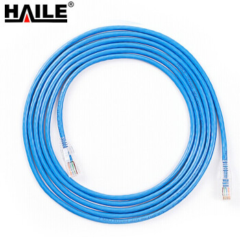 海乐(HAILE)超五类网线 CAT5e成品网络跳线蓝色圆线工程家装宽带电脑连接网线 5米(HT-203F-5M)