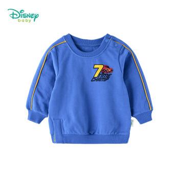迪士尼(Disney)童装加绒肩开扣男童长袖卫衣抓绒套头圆领宝宝上衣183S1057 12个月/身高80cm
