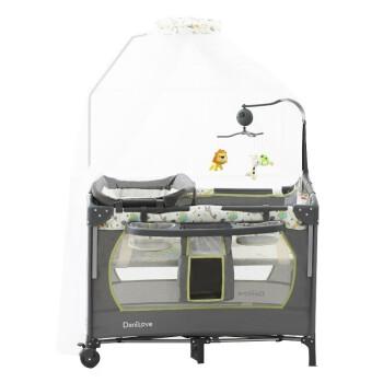 danilove婴儿床宝宝可折叠便携式bb床新生儿童床多功能床 长颈鹿豪华对接款+音乐铃+蚊帐+置物架+尿布台