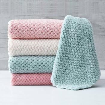 方形珊瑚绒洗碗布不掉毛不沾油厨房吸水去污百洁布抹布毛巾清洁布 10条装颜色混搭