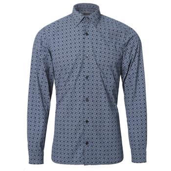Z ZEGNA 杰尼亚 18秋冬新款 男士藏蓝色棉质字母印花长袖衬衫 905211 9DFLER 39 G