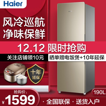 Haier/海尔双门两门小冰箱风冷无霜/直冷小型家用家电迷你节能电冰箱 190升双门两门无霜冰箱BCD-190WDPT